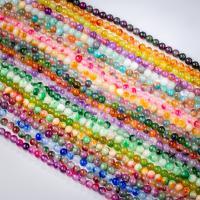 Mischedelstein Perlen, Naturstein, rund, poliert, verschiedene Größen vorhanden, keine, ca. 0.39m/Strang, verkauft von Strang