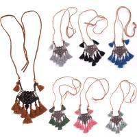 Kunstleder Franse Halskette, mit Baumwollfaden & Zinklegierung, für Frau, keine, frei von Nickel, Blei & Kadmium, 40mm, verkauft per ca. 29.5 ZollInch Strang