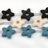 Natürliche Lava Perlen, Stern, keine, frei von Nickel, Blei & Kadmium, 36x34mm, 8PCs/Strang, verkauft von Strang