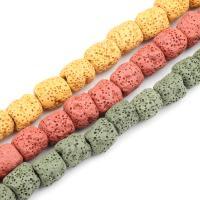 Natürliche Lava Perlen, Zylinder, keine, frei von Nickel, Blei & Kadmium, 10~15mm, 33PCs/Strang, verkauft von Strang