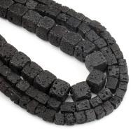 Natürliche Lava Perlen, schwarz, frei von Nickel, Blei & Kadmium, 6mm, 63PCs/Strang, verkauft von Strang