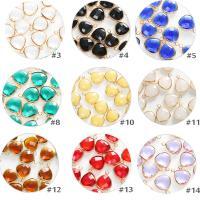 Kristall Anhänger, Dreieck, goldfarben plattiert, DIY & facettierte, mehrere Farben vorhanden, 14mm, 10PCs/Tasche, verkauft von Tasche