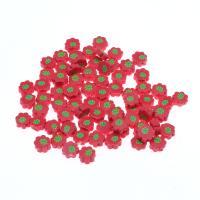 Polymer Ton Perlen , Blume, rot, frei von Nickel, Blei & Kadmium, 11x11x5mm, 1000/Tasche, verkauft von Tasche