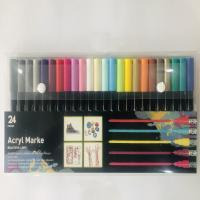 Kunststoff Wasser Farbstift, mit Nylon, verschiedene Stile für Wahl, gemischte Farben, 10x140mm, verkauft von Box