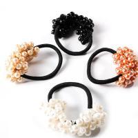 Pferdeschwanz-Halter, elastischer Faden, mit Kunststoff Perlen, für Frau, keine, 70mm, verkauft von Strang