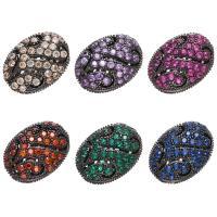 Befestigte Zirkonia Perlen, Messing, flache Runde, plattiert, DIY & Micro pave Zirkonia, keine, 12x8x16mm, Bohrung:ca. 1.5mm, 10PCs/Menge, verkauft von Menge