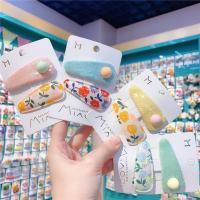 Stoff Haarclip, mit Pailletten & Zinklegierung, Kunstdruck, für Kinder, 50mm, 10SetsSatz/Menge, verkauft von Menge