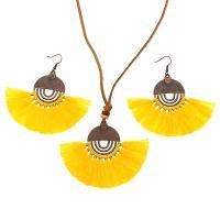 Zinklegierung Schmucksets, Ohrring & Halskette, mit Baumwollfaden, plattiert, für Frau, keine, frei von Nickel, Blei & Kadmium, 78x30mm, verkauft von setzen