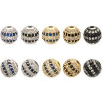 Befestigte Zirkonia Perlen, Messing, rund, plattiert, DIY & Micro pave Zirkonia, keine, 10x10mm, Bohrung:ca. 2mm, 10PCs/Menge, verkauft von Menge