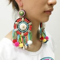 Mode-Fringe-Ohrringe, Seedbead, mit Muschel, für Frau, frei von Nickel, Blei & Kadmium, verkauft von Paar