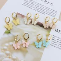 Huggie Hoop Drop Ohrringe, Zinklegierung, mit Acryl, Schmetterling, goldfarben plattiert, für Frau, keine, 13x25mm, 12PaarePärchen/Menge, verkauft von Menge