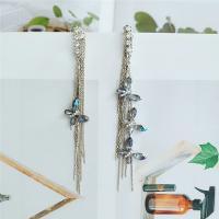 asymmetrische Ohrringe, Zinklegierung, plattiert, für Frau & mit Strass, weiß, frei von Nickel, Blei & Kadmium, 105x15mm, verkauft von Paar