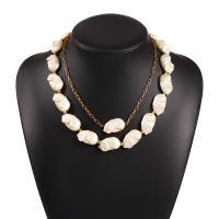 Plastik-Perlenkette, Zinklegierung, mit Kunststoff Perlen, mit Verlängerungskettchen von 2.76 inch, goldfarben plattiert, für Frau, weiß, 17x22mm, Länge:ca. 17.32 ZollInch, verkauft von setzen