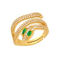 Messing Open -Finger-Ring, Schlange, Micro pave Zirkonia & für Frau, metallische Farbe plattiert, 21x18mm, verkauft von PC