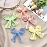 Schnabelspange, Zinklegierung, mit Organza, plattiert, für Frau, keine, frei von Nickel, Blei & Kadmium, verkauft von Tasche