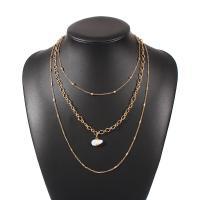 Zinklegierung Halskette, plattiert, für Frau, Goldfarbe, frei von Nickel, Blei & Kadmium, verkauft von Strang