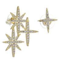 asymmetrische Ohrringe, Messing, goldfarben plattiert, Micro pave Zirkonia & für Frau, metallische Farbe plattiert, 27x34mm,14x17mm, 12PaarePärchen/Menge, verkauft von Menge
