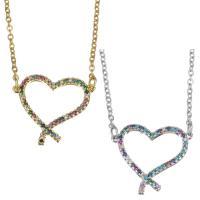 Messing Halskette, mit Edelstahl Kette, mit Verlängerungskettchen von 1.5 inch, Herz, plattiert, Micro pave Zirkonia & für Frau & hohl, keine, 20x18mm,1.5mm, verkauft per ca. 17 ZollInch Strang