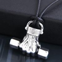 Zinklegierung Schmuck Halskette, mit PU Leder, silberfarben plattiert, für den Menschen & Schwärzen, frei von Nickel, Blei & Kadmium, 37x33mm, verkauft per ca. 21.7 ZollInch Strang