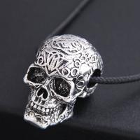 Zinklegierung Schmuck Halskette, mit PU Leder, Schädel, silberfarben plattiert, für den Menschen & Schwärzen, frei von Nickel, Blei & Kadmium, 37x24mm, verkauft per ca. 21.7 ZollInch Strang
