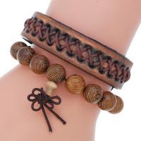 Herren-Armband & Bangle, Kunstleder, Armband, mit Eisen, plattiert, für den Menschen, 16mm, Länge:8.9 ZollInch, verkauft von setzen