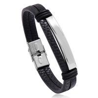 Herren-Armband & Bangle, PU Leder, mit Edelstahl, plattiert, für den Menschen, keine, 10mm, Bohrung:ca. 3.5mm, verkauft per 8.3 ZollInch Strang