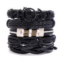 Herren-Armband & Bangle, Kunstleder, Armband, mit Zinklegierung, plattiert, unisex, 60mm, verkauft von setzen