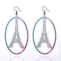Edelstahl Tropfen Ohrring, Eiffelturm, plattiert, für Frau & hohl, keine, 40x65mm, 5PaarePärchen/Tasche, verkauft von Tasche