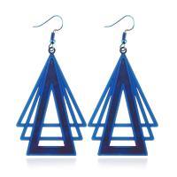Edelstahl Tropfen Ohrring, Dreieck, plattiert, für Frau & hohl, keine, 57*37mm,, 5PaarPärchen/Tasche, verkauft von Tasche