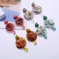 Zinklegierung Ohrringe, mit Stoff, Blume, goldfarben plattiert, für Frau, keine, frei von Nickel, Blei & Kadmium, 62x38mm, verkauft von Paar