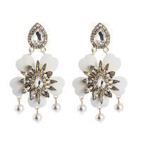 Zinklegierung Ohrringe, Blume, plattiert, für Frau & mit Strass, keine, 45x80mm, verkauft von Paar